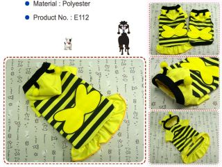 Dog Clothes Hoodie Dress Pet Apparel Honey Bee Costume Skirts E112