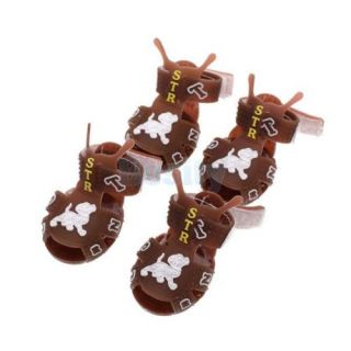 Fashion Pet Dog Rubber Walking Shoes Velcro Strap Paws Boots Summer Sandals 2