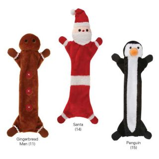 Zanies Holiday Unstuffies Dog Toy Santa Gingerbread Man Penguin Christmas Toys
