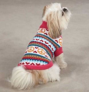 Peace Lovin' Sweater Pet Dog Knit Top Shirt XXS L Pink Turtleneck Peace Sign