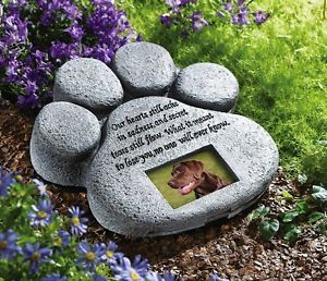 Paw Print Pet Dog Cat Memorial Photo Frame Yard Garden Grave Stone Plaque New
