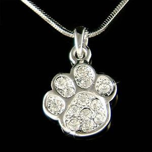 W Swarovski Crystal Cute Dog Kitty Cat Kitten Pawprint Paw Print Charm Necklace