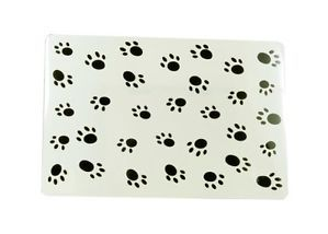 Cat Dog Rabbit Pet Paw Print Place Mat Feeding Mat Wipe Clean