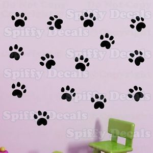 Dog Cat Animal Pet Paw Prints Group of 14 Vinyl Wall Decal Decor Stickers Quote