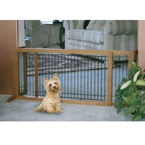 "New Richell Expandable Extra Wide Pet Dog Wooden Door Gate Brown HL 28"" R94147"