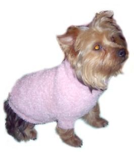 Warm Pink Fuzzy Dog Sweater Clothes Apparel Coat