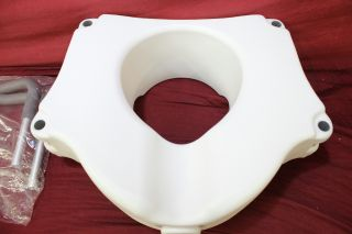 Drive Medical Deluxe Elevated Raised Toilet Seat w Removable Padded Arms White