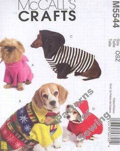 Pattern McCall's Sewing Pet Dog Clothing Coat Pullovers Accessories New