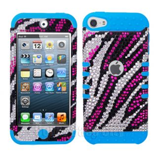 Pink Zebra Diamond Light Blue Impact Cover Case for Apple iPod Touch 5 5th Gen