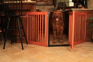 Wood Walk thru Door Dog Gate Freestanding Expandable Indoor Pet Fence