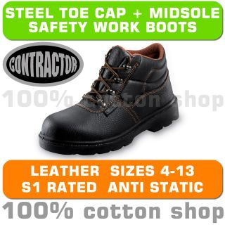 Contractor Work Chukka Safety Black Leather Boots Shoes Steel Toe Men Women