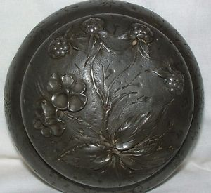 Signed Antique Etain Floral Pewter Art Nouveau Pot Jar Container Powder Preserve