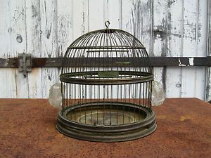 Antique Vtg Hendryx Brass Metal Hanging Bird Cage and Glass Feeders