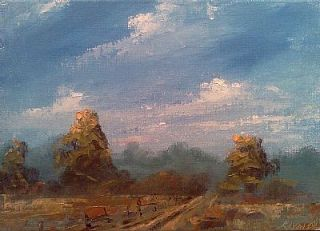 Vanlandingham Original Daily Fine Art Plein Air Oil Painting Landscape EBSQ Farm