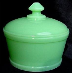 Art Deco Jadeite Jadite Green Milk Glass Covered Butter Dish Tub Container