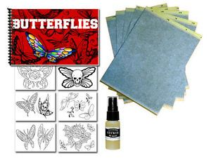 Tattoo Supplies Flash Art Butterflies Book Transfer Paper Stencil Magic Bundle