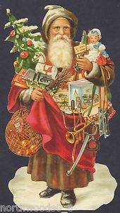 Christmas Bag Tree Santa Toys Oldworld Doll Art Embossed German Paper Scrap Card