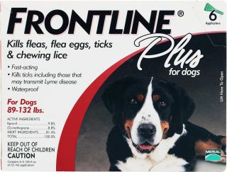 Frontline Plus for Dogs 89 132 lbs 6 Tubes 6 Months Open Box