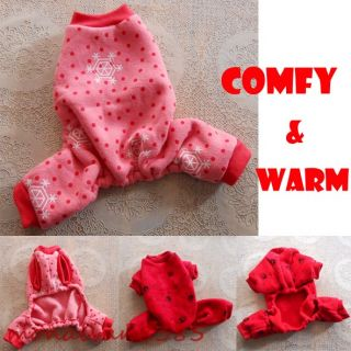 Red Pink Warm Dog Pajamas Jumpsuits Dog Clothes Pet Apparel s M L Run Small
