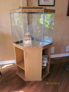Corner Fish Tank 54 Gallon Tank Stand Hood Light Filter Pick Up Only NJ