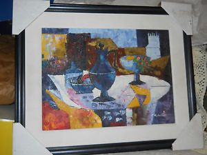 New Modern Art Painting Artist Signed R Wilcox Oil Board Still Life Cubist Vase