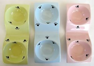 New Green Blue Pink Set of 2 Wave Paw Print Pattern Dog Cat Food Water Bowls