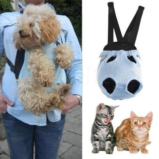Travel Soft Nylon Pet Dog Cat Carrier Backpack Sling Tote Front Net Bag Blue M