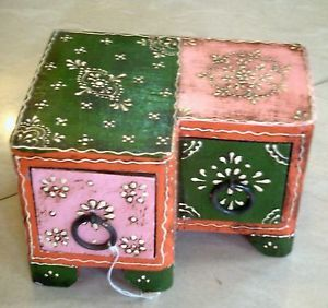 Unique Shape Wooden Jewelry Box 2 Drawers RARE Unique Shape Wood Art India Decor