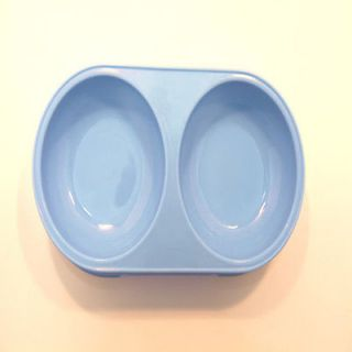 "New Pet Dog Cat Small Double Food Bowl Plastic Water Dish Feeder Blue 8 5""x4 25"""