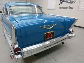 "1957 Chevy Bel Air 2 Dr H T ""Harbor Blue Metallic"" Clear Blue Interior V8 Auto"