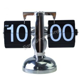 Retro Modern Scale Digital Auto Flip Down Single Stand Metal Desk Table Clock