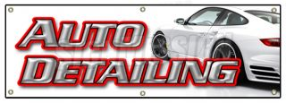 "72"" Auto Detailing Banner Sign Car Wash Wax Signs Carwash Detail Automobile"