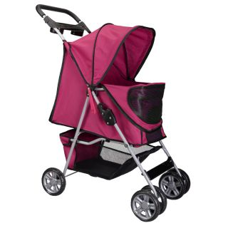 New Large Deluxe Folding 4 Wheels Pet Gear Dog Cat Carrier Stroller Rose