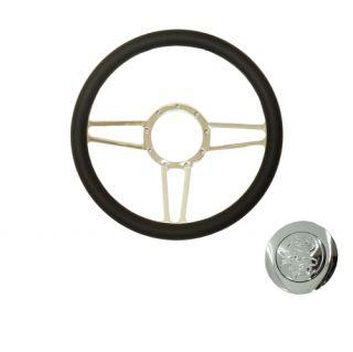 "GM 14"" Chrome Black Leather Spear Steering Wheel Flamed Horn Button"