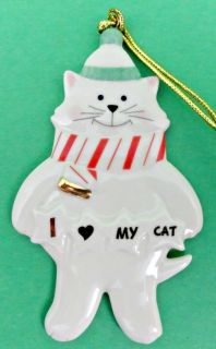 Lenox I Love My Cat Ornament Christmas Holiday Feline Kitty New