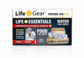 Life Gear's Life Essentials 3 Day Supply of Food and Water with Thermal Blanket