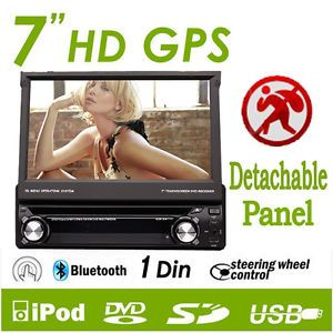 "GPS Single 1 DIN 7"" Car DVD Player GPS Navigation Touchscreen iPod Bluetooth"