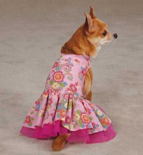 Spring Garden Dog Dress Pet Dresses Pink Tulle Underlay Pleated Skirt Pet