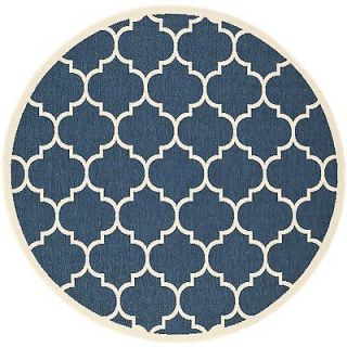 "Soft Safavieh Indoor Outdoor Courtyard Navy Beige Rug 5'3"" Round"