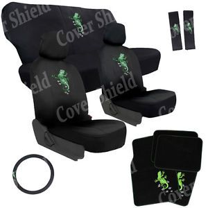 15 PC Set Green Gecko Lizard Reptile Van Seat Covers Floor Mats