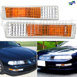 1994 1996 Honda Prelude Depo Amber Clear Lens Chrome Turn Signal Bumper Lights