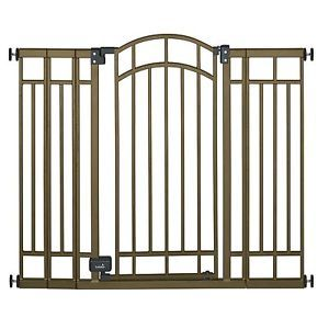 Extra Tall Decorative Walk thru Metal Safety Gate Baby Dog Pet Bronze