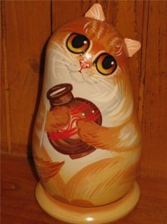 Russian Small Doll Ginger Cat Milk Grey Mouse Artist Makarova Hand Painted Gift