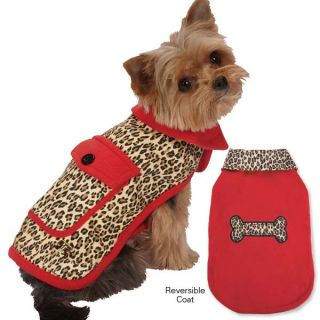 M Isaac Mizrahi Leopard Reversible Coats Dogs Red Jacket Pet Coat Dog Designer