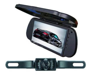 "7"" LCD Car Rear View Reverse Mirror Monitor IR Backup Reversing Camera Cam Kit"