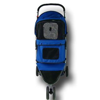 Folding Blue Pet Dog Cat Travel Stroller Carrier 3 Wheel