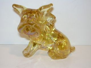Imperial Sunshine Yellow Carnival Glass Parlor Pup Bulldog '83