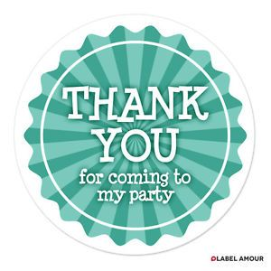 Birthday Party Bags Favour Sticker Labels Thank You 3 Sizes