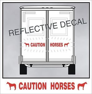 Caution Horses Reflective Decal Fits American Quarter Horse Trailer in Red 056
