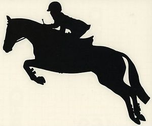 Med Black Hunter Jumper Jumping Sport Horse Pony Rider Equestrian Trailer Decal